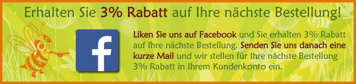 Liken Sie uns auf Facebook und erhalten Sie 3% Rabatt auf Ihre nächste Bestellung.