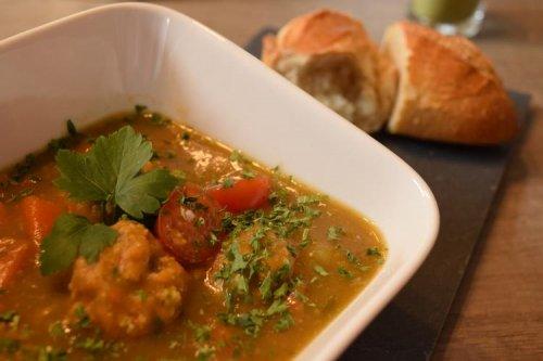 Moringa soup with vegetarian dumplings