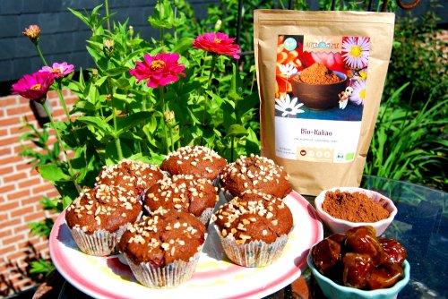 Chocolade Kersen Muffins met Biologische Cacao en Dadels