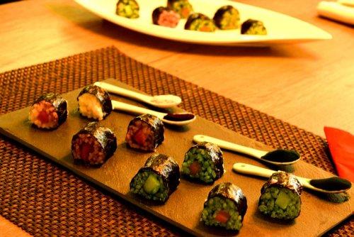 Bunte Sushi Variationen