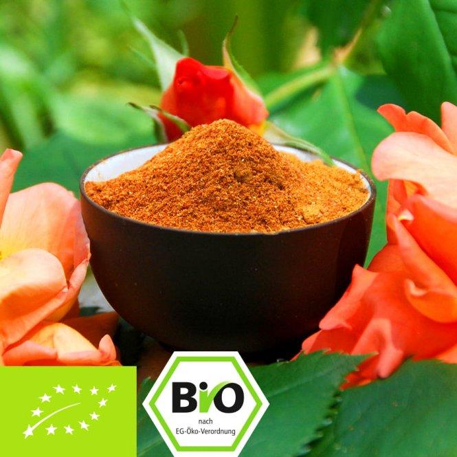 Biologisch rozenbottelpoeder van de hele vrucht - luchtgedroogd - EU-teelt 500g
