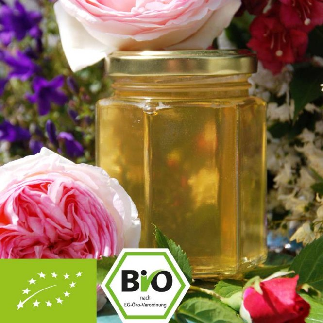 Organic acacia honey with rose water