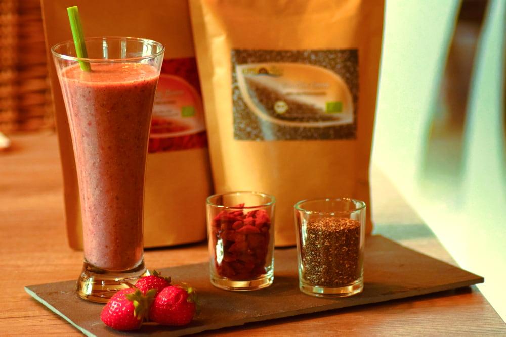 Erdbeer-Mandel-Smoothie