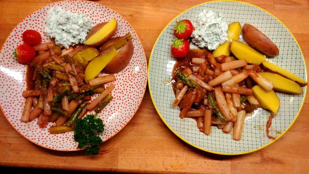 Spargel mit Kartoffeln und Moringa-Quark